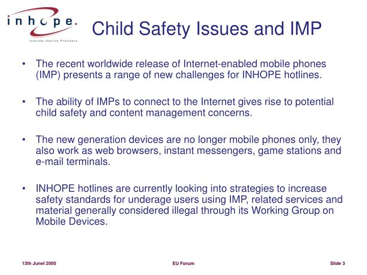 Child safety issues and imp