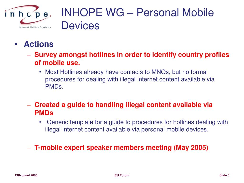 INHOPE WG – Personal Mobile Devices