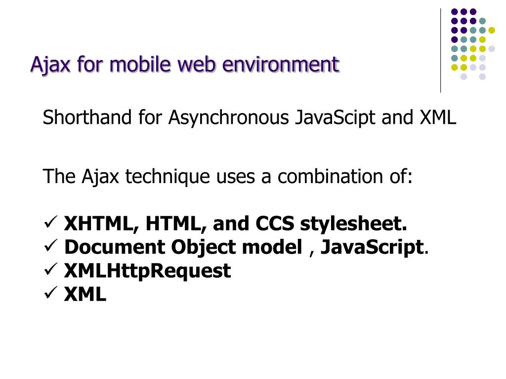 Ajax for mobile web environment