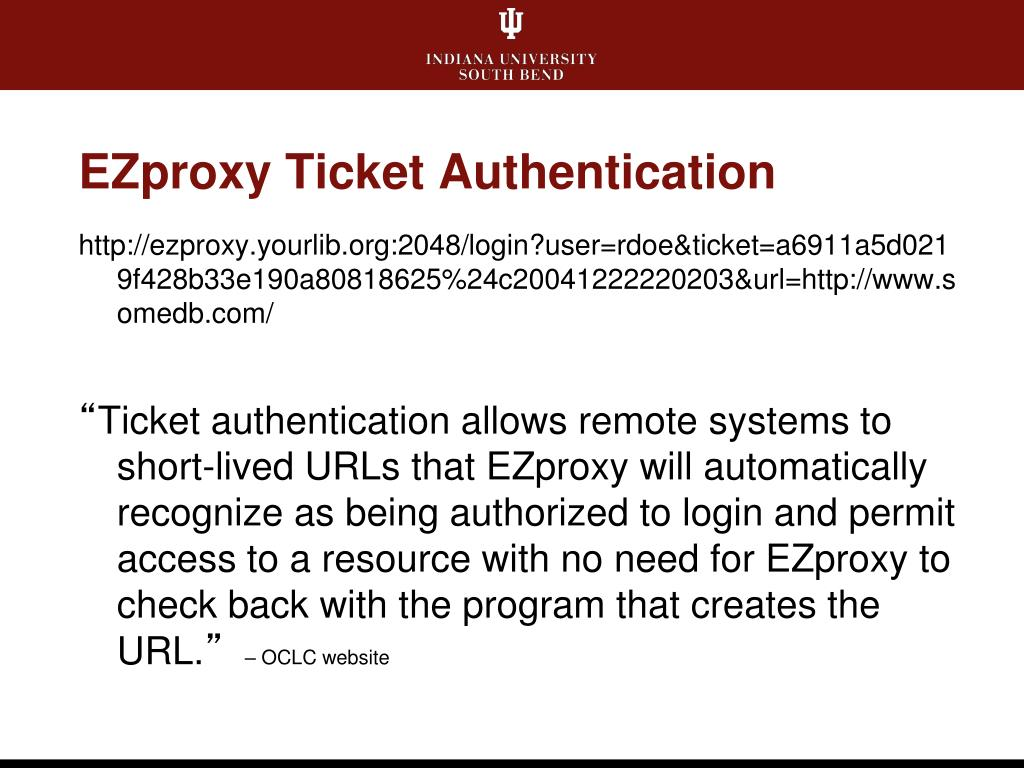 EZproxy Ticket Authentication