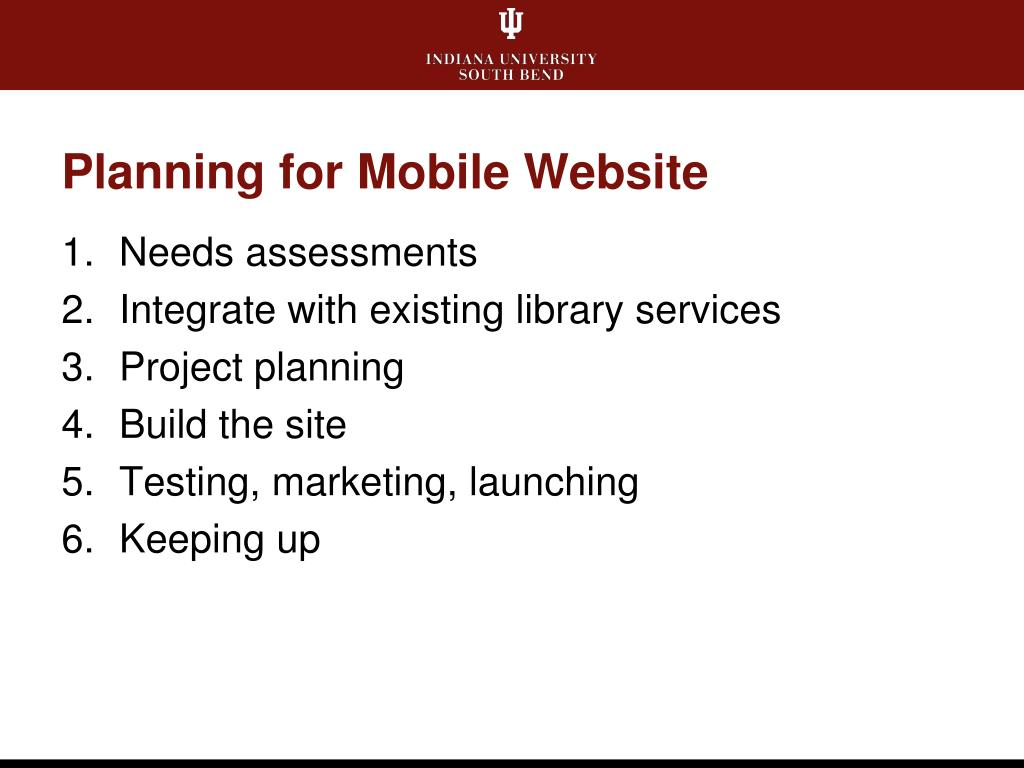 Planning for Mobile Website