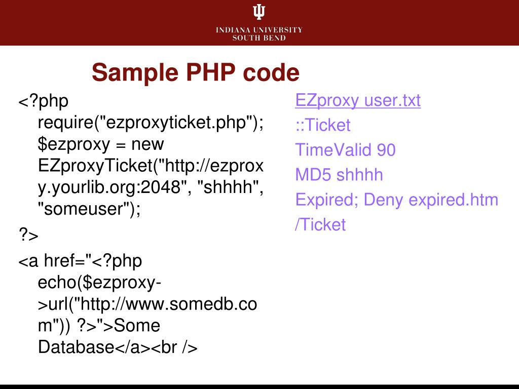 Sample PHP code