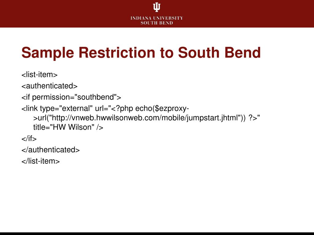 Sample Restriction to South Bend