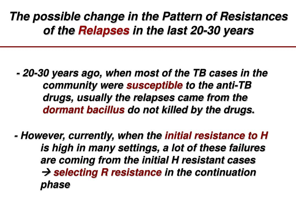 The possible change in the Pattern of Resistances of the
