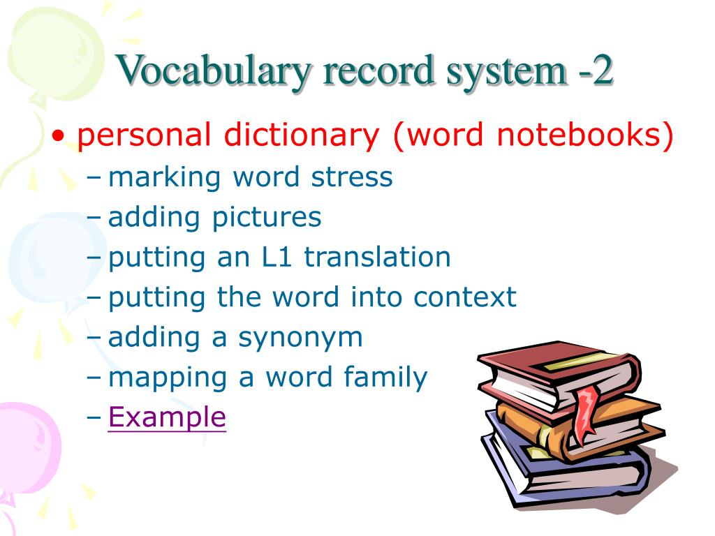 Vocabulary record system -2