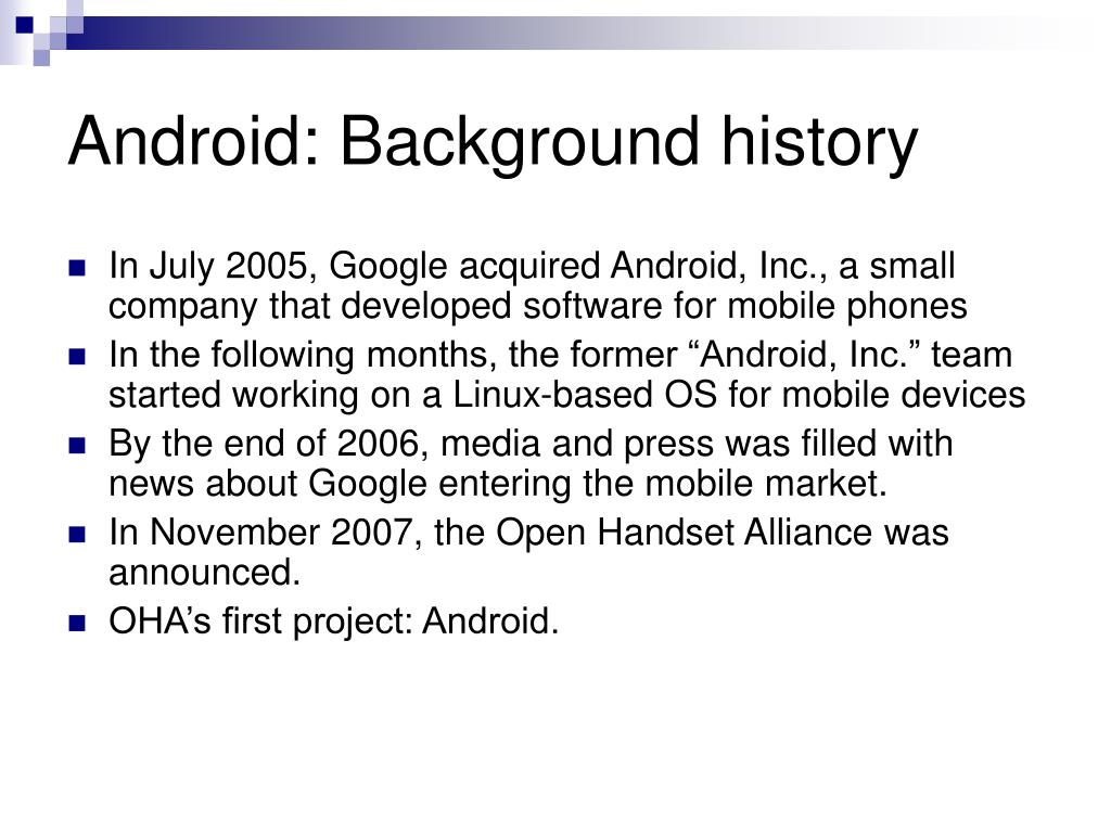 Android: Background history