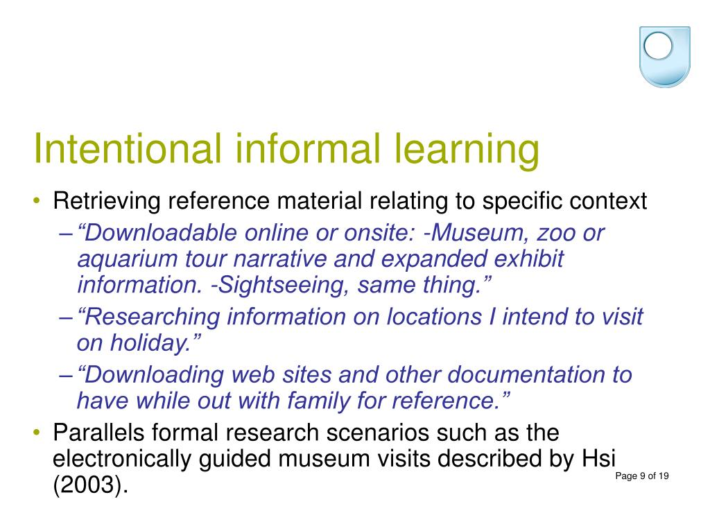 Intentional informal learning