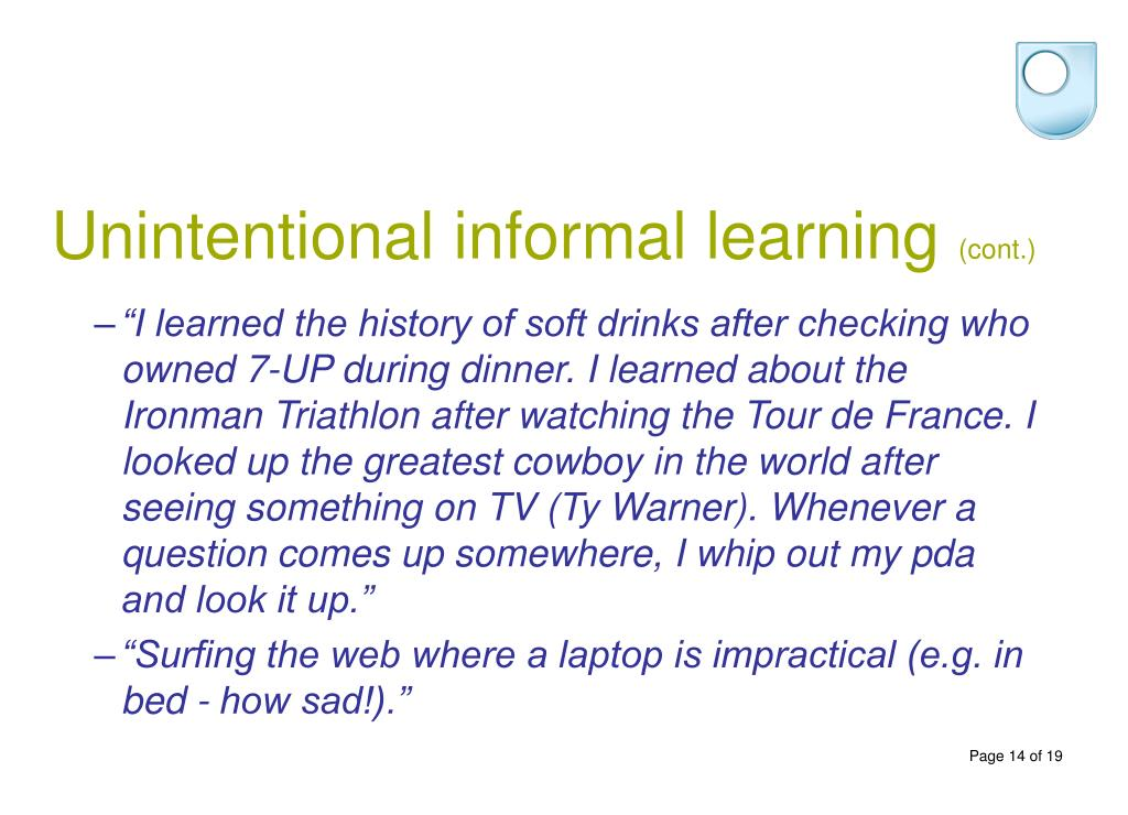 Unintentional informal learning