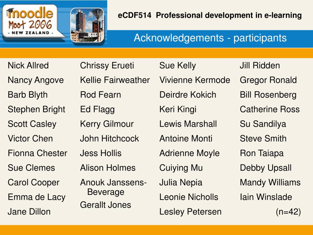 Acknowledgements - participants
