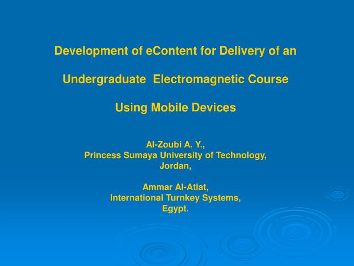 Development of eContent for Delivery of an
