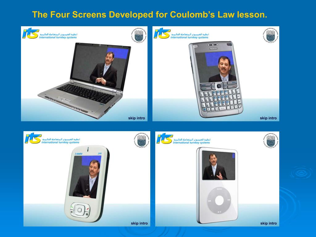 The Four Screens Developed for Coulomb's Law lesson.
