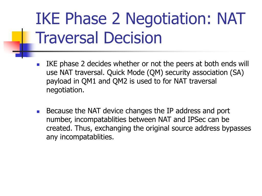 IKE Phase 2 Negotiation: NAT Traversal Decision