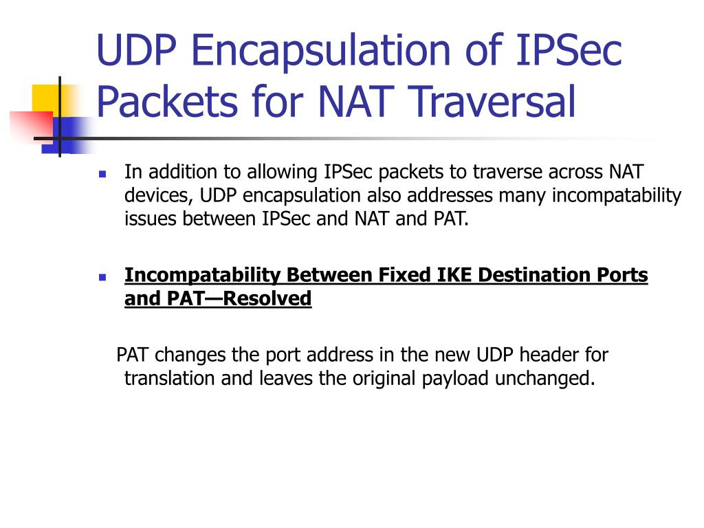 UDP Encapsulation of IPSec Packets for NAT Traversal