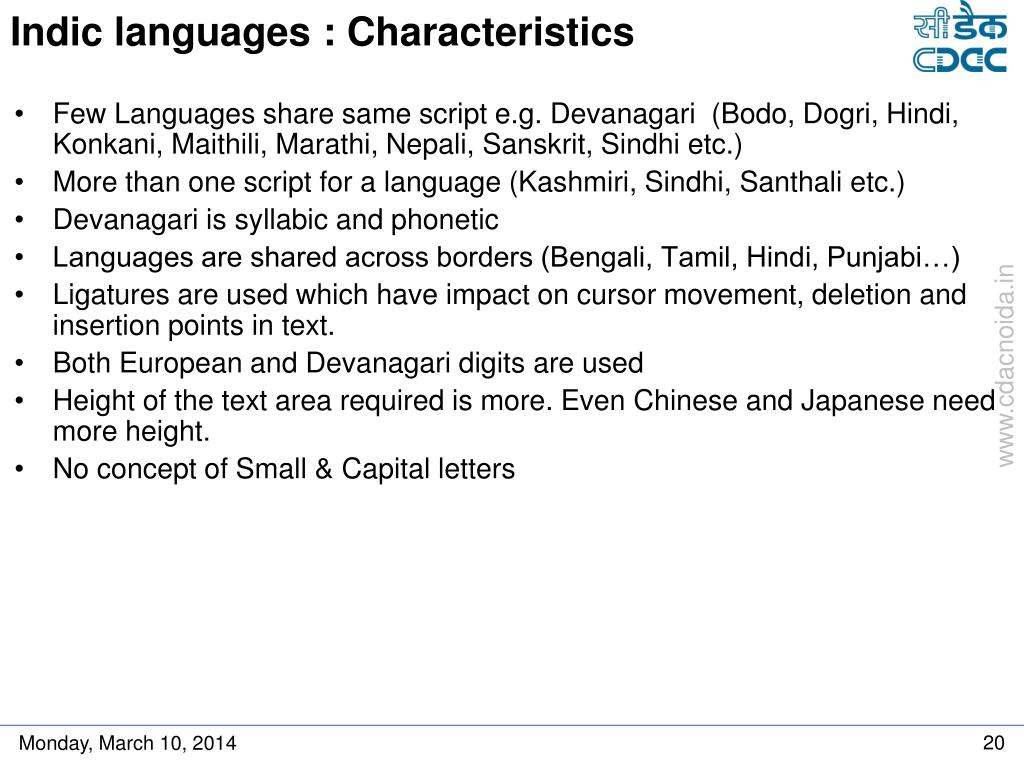 Indic languages : Characteristics