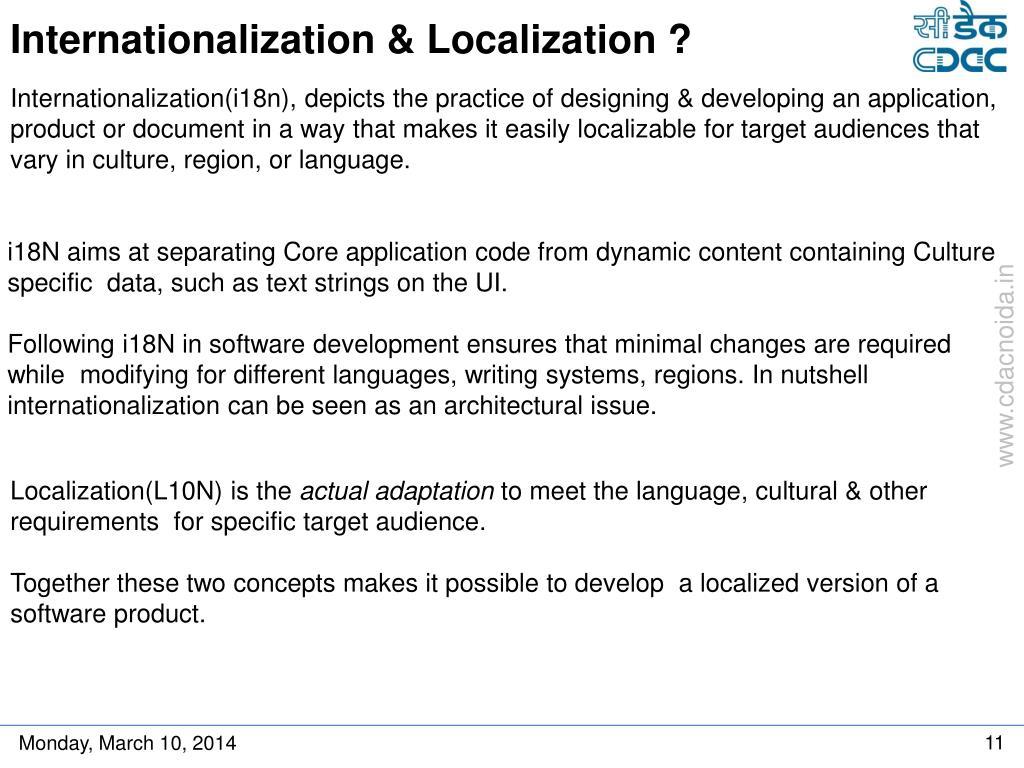 Internationalization & Localization ?