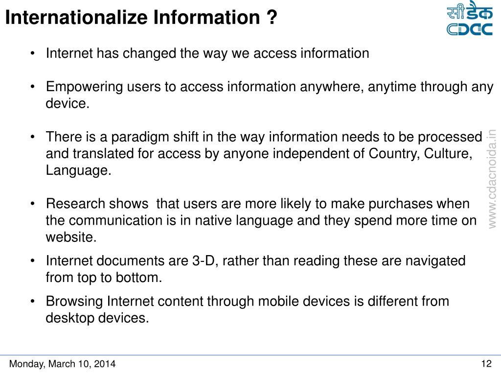 Internationalize Information ?