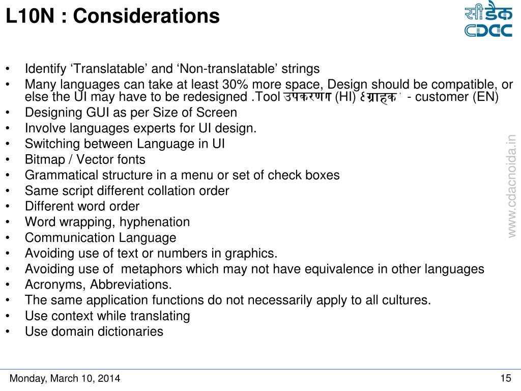 L10N : Considerations