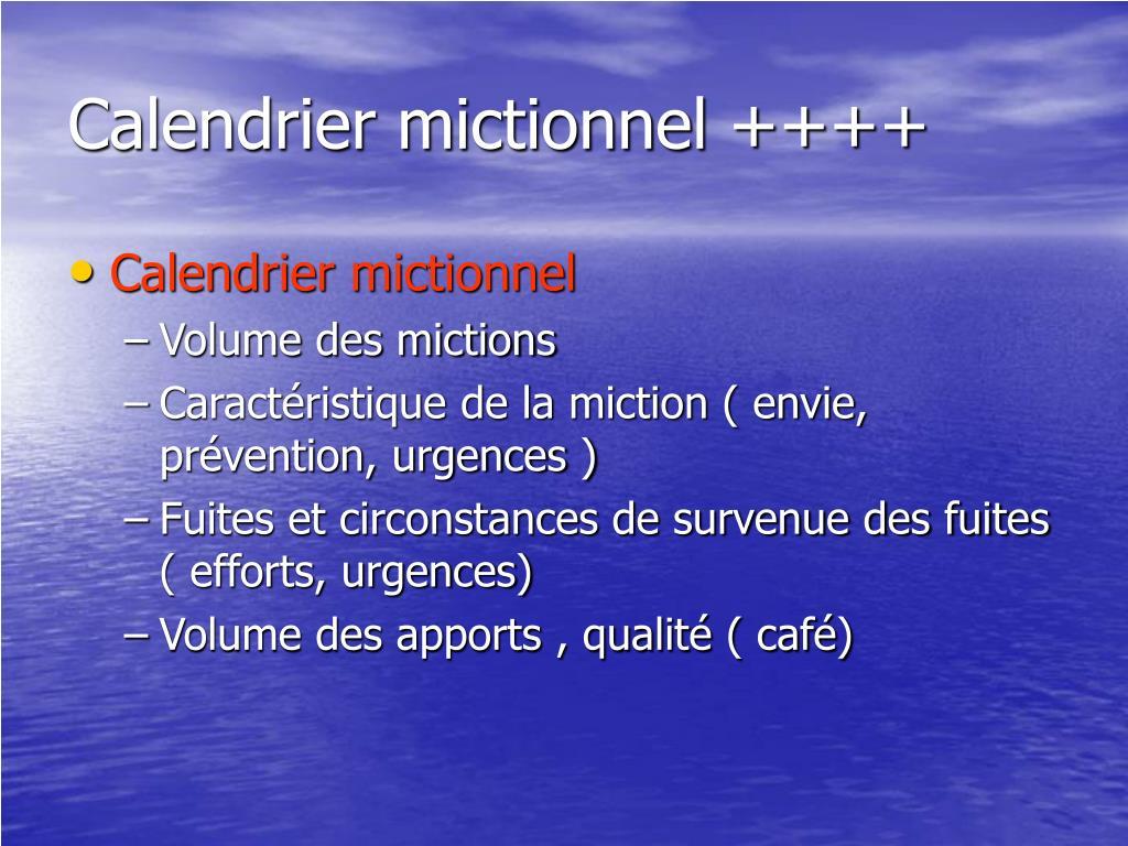 Calendrier mictionnel ++++