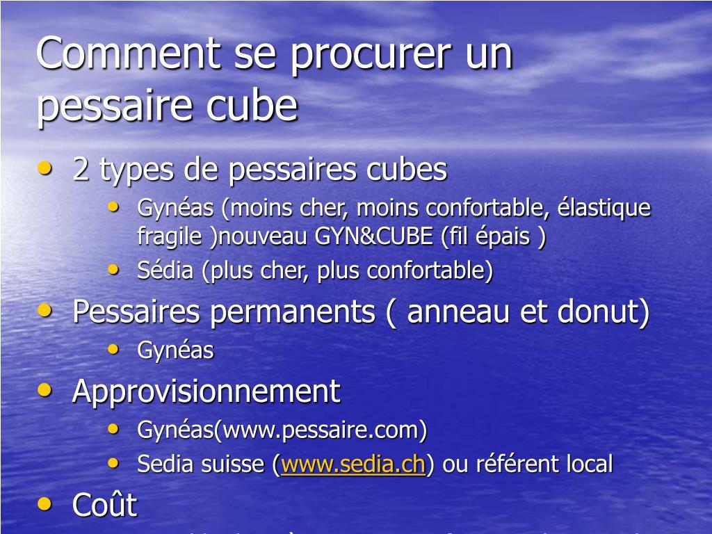 Comment se procurer un pessaire cube