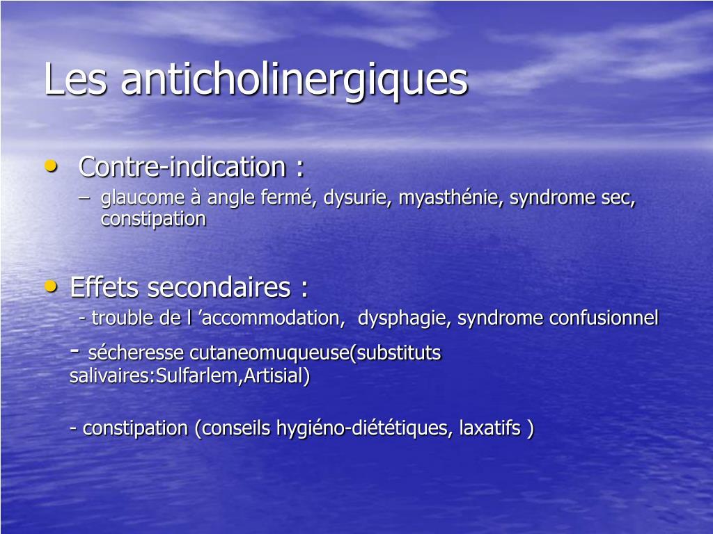 Les anticholinergiques