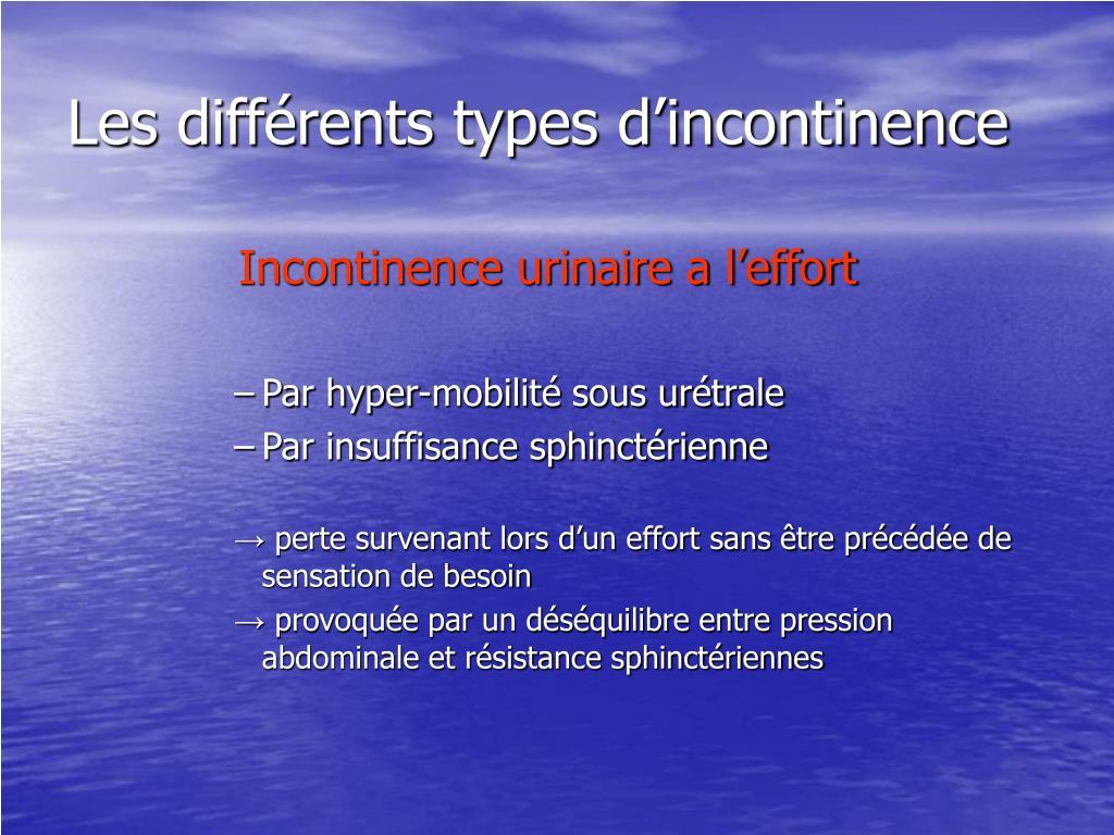 Les différents types d'incontinence