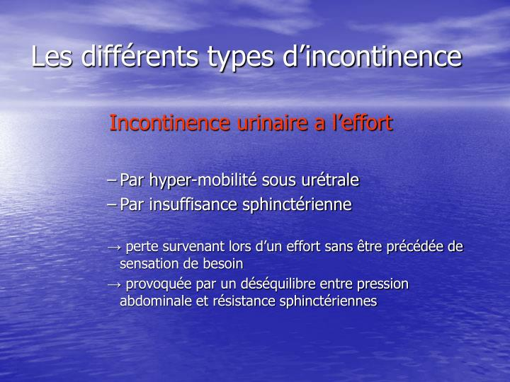 Les diff rents types d incontinence
