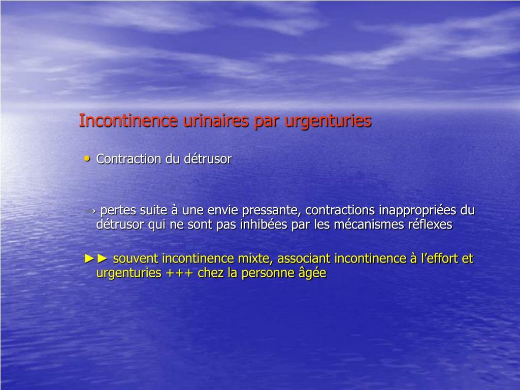 Incontinence urinaires par urgenturies