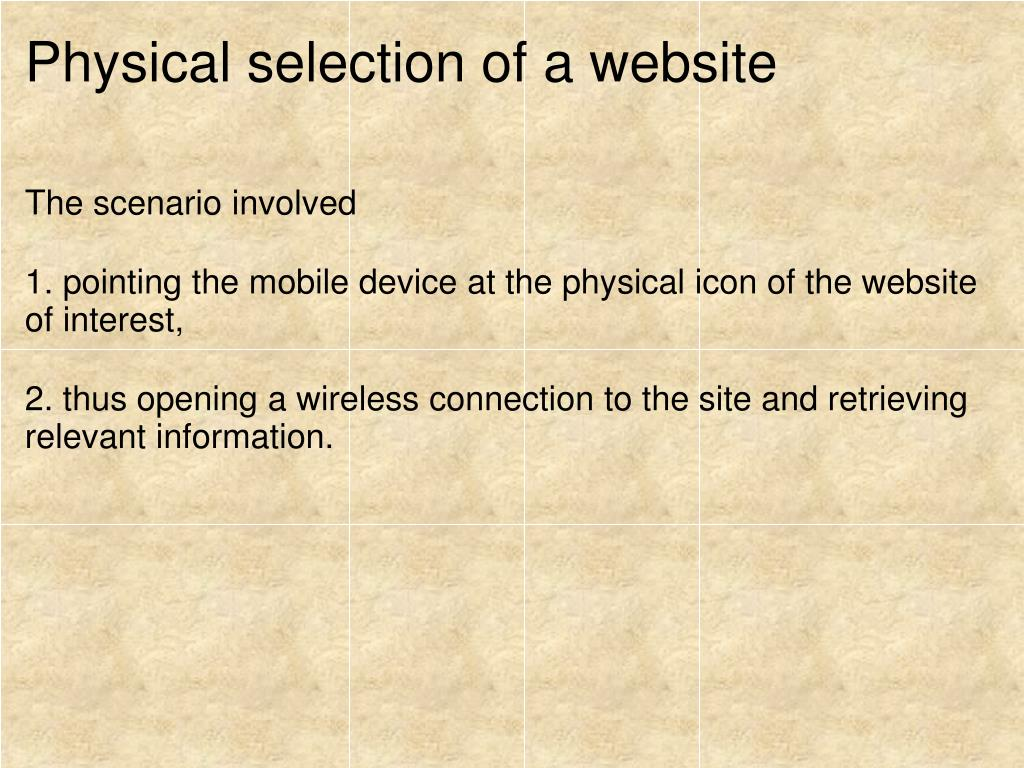 Physical selection of a website