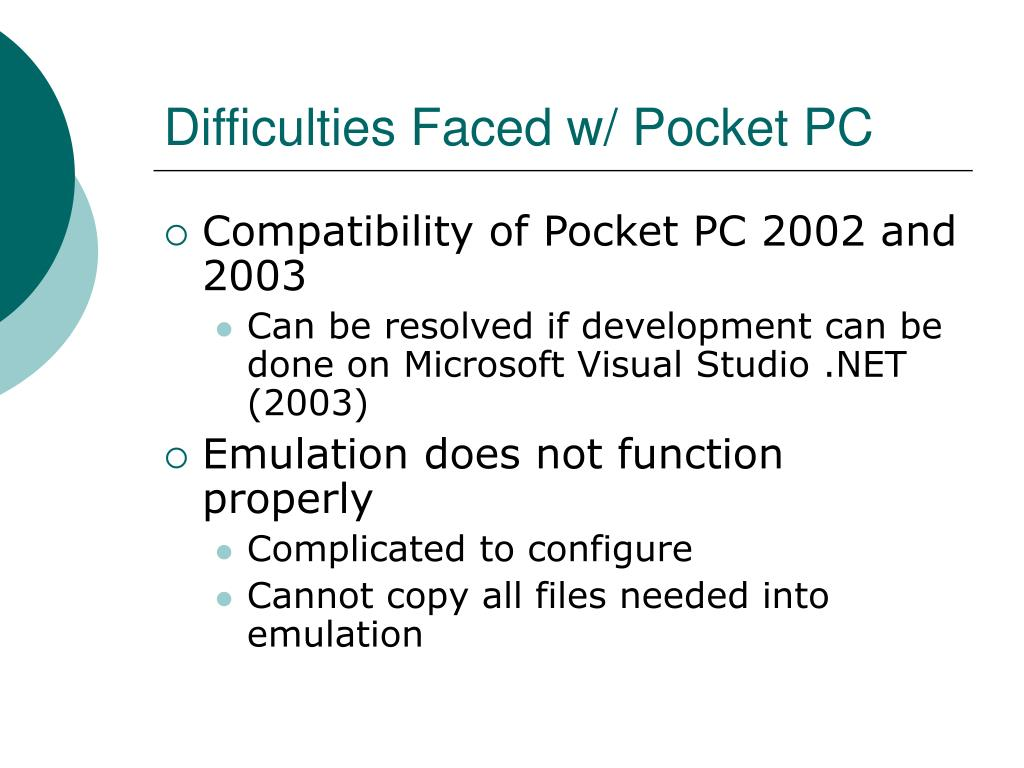 Difficulties Faced w/ Pocket PC