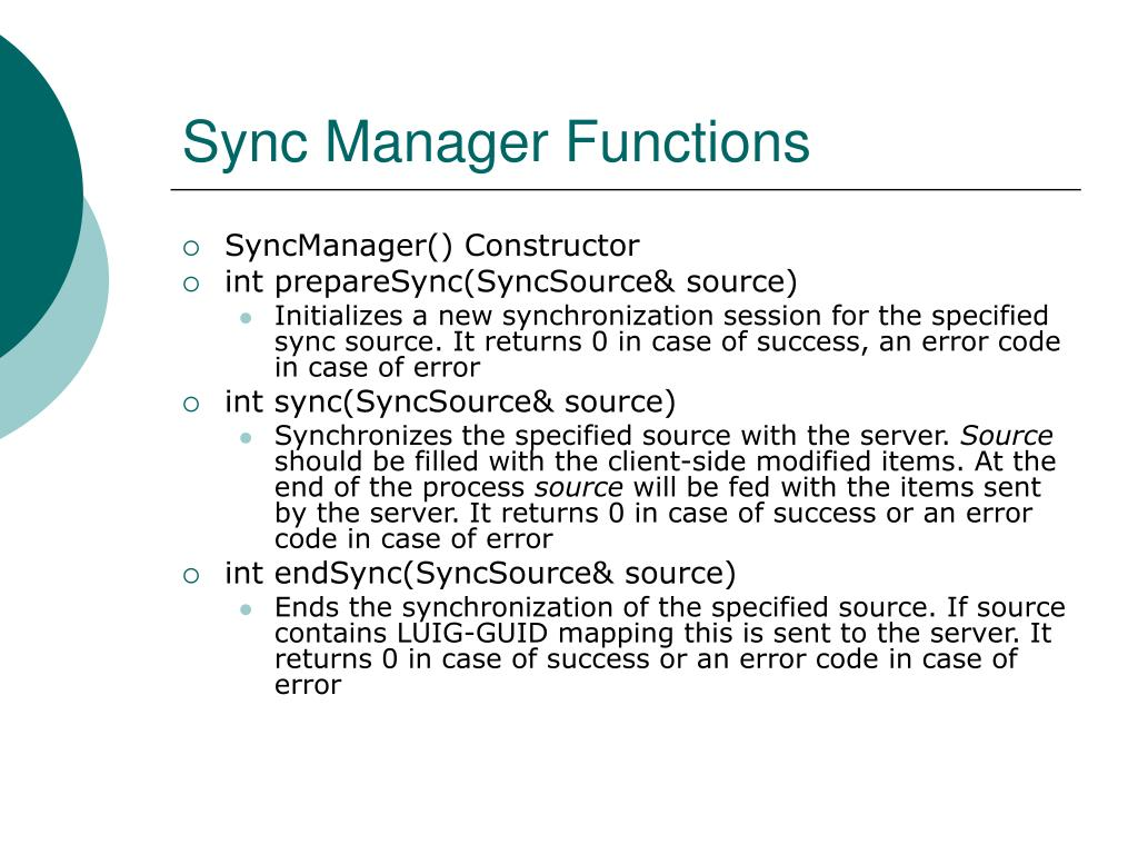 Sync Manager Functions