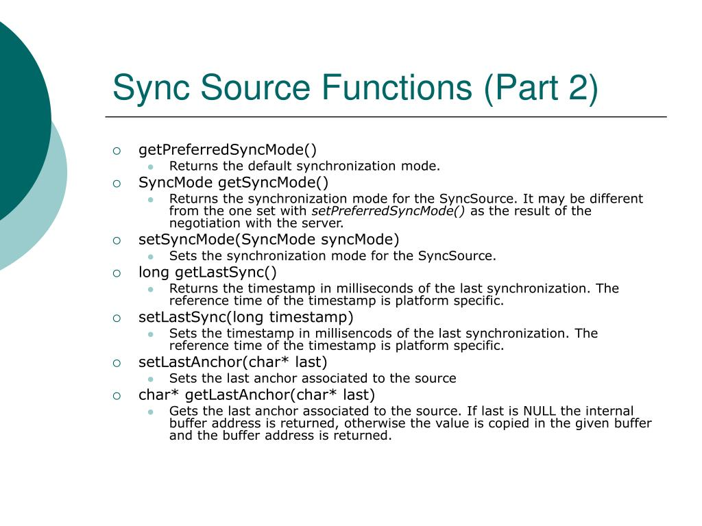 Sync Source Functions (Part 2)