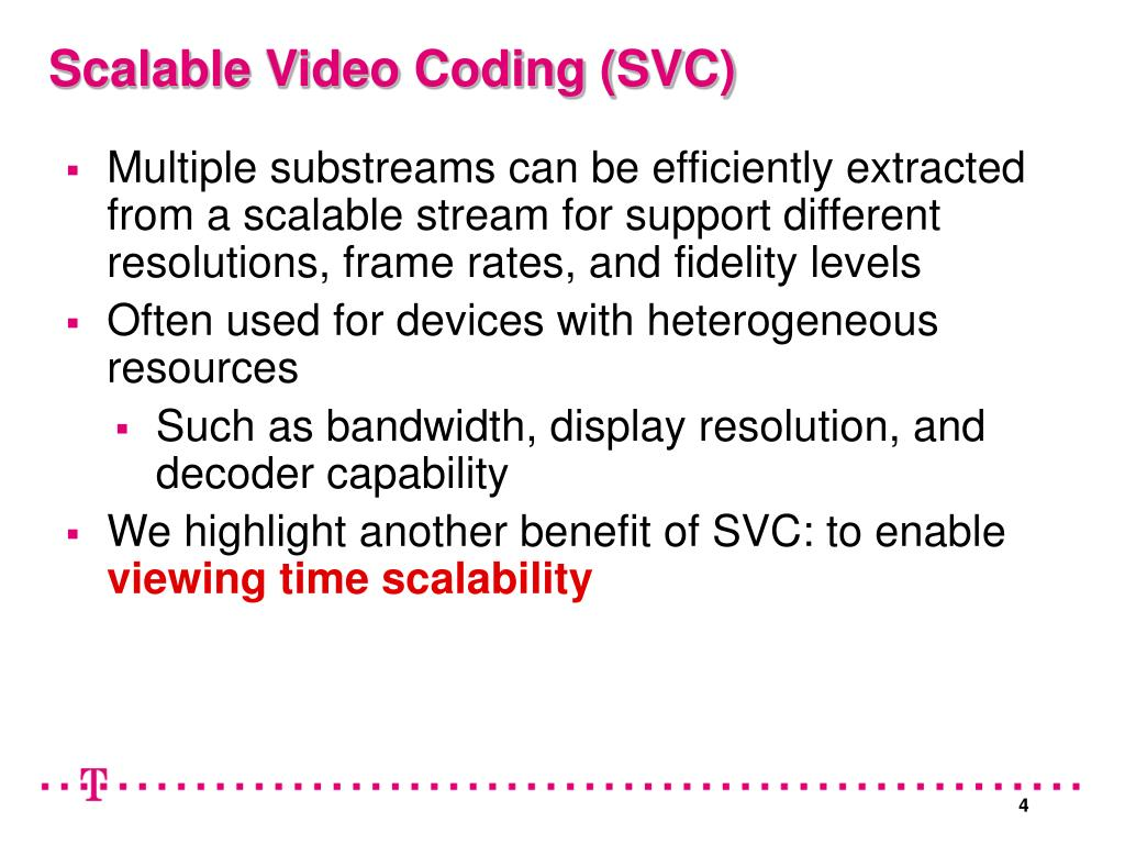 Multiple substreams can be efficiently extracted from a scalable stream for support different resolutions, frame rates, and fidelity levels