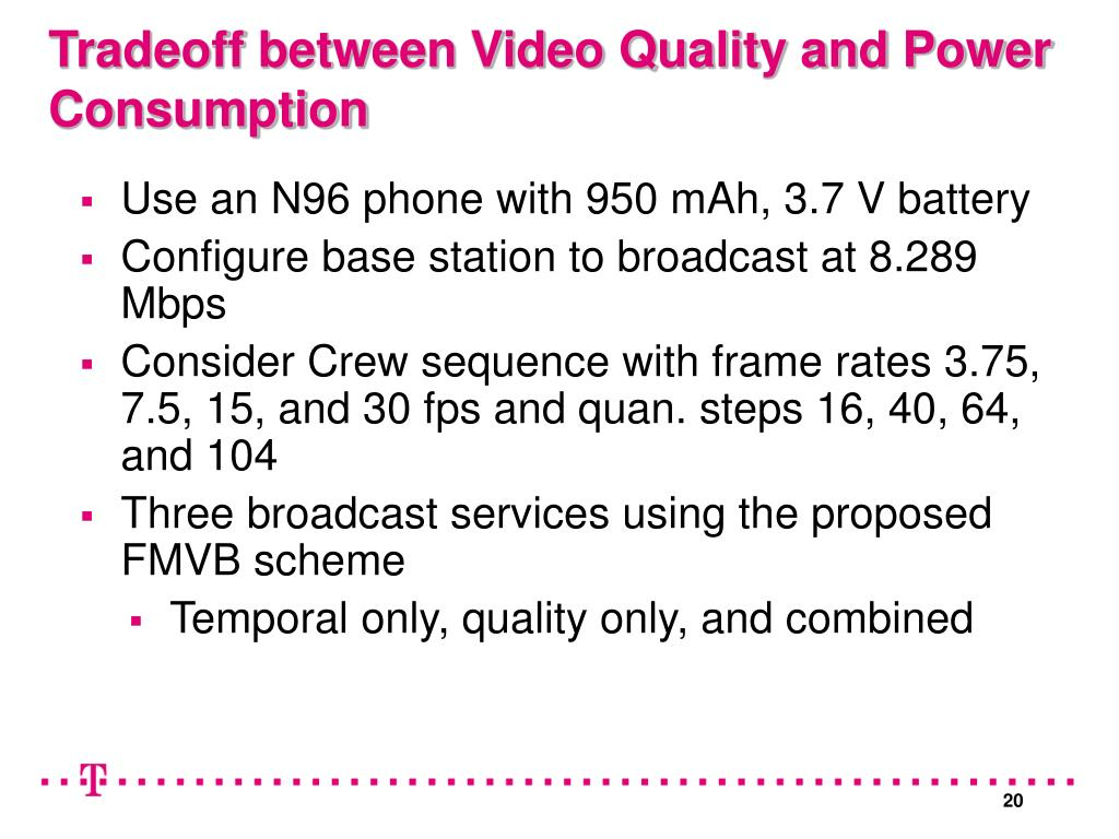 Tradeoff between Video Quality and Power Consumption