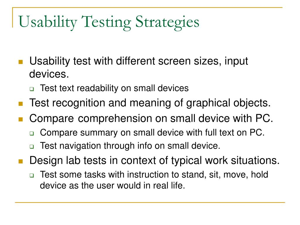 Usability Testing Strategies