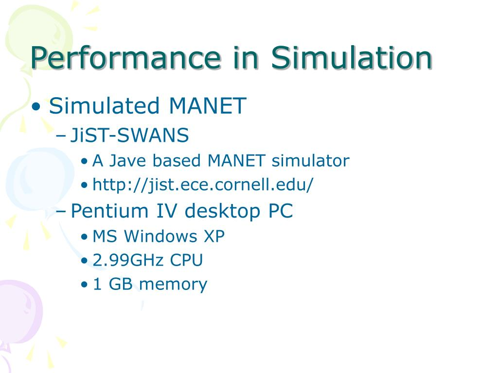 Performance in Simulation