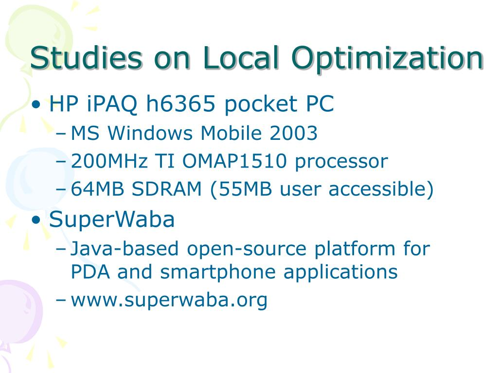 Studies on Local Optimization