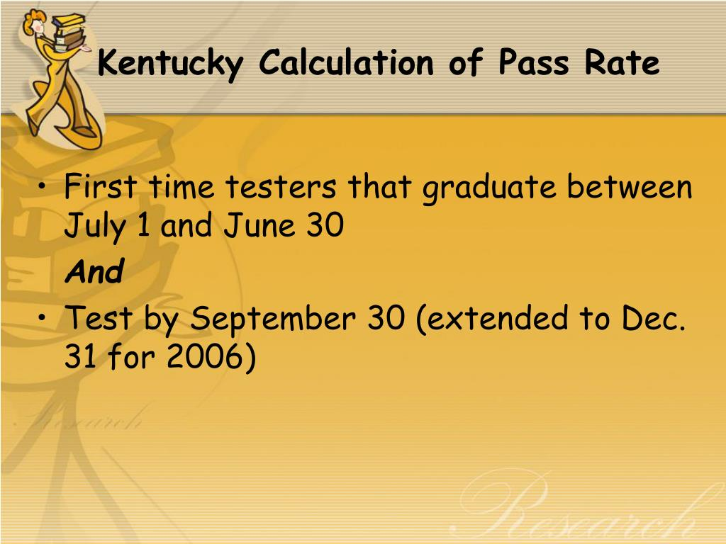 Kentucky Calculation of Pass Rate