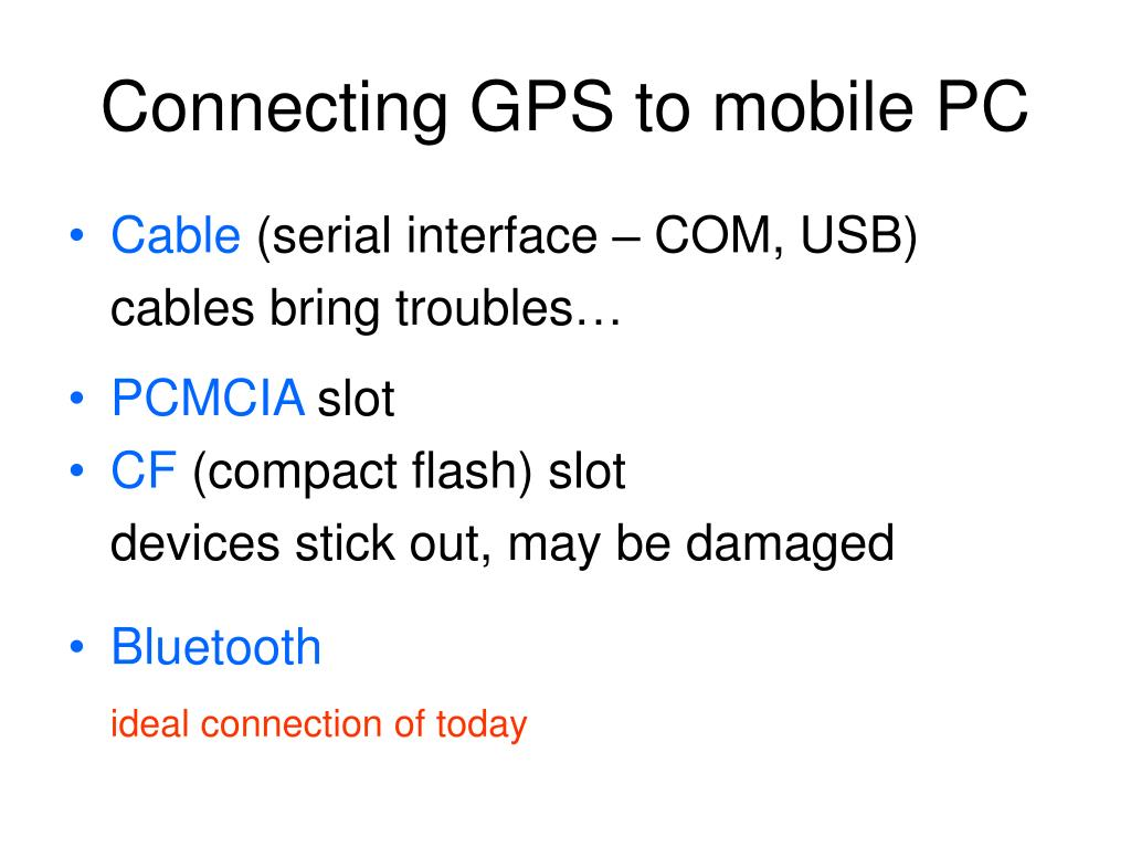 Connecting GPS to mobile PC