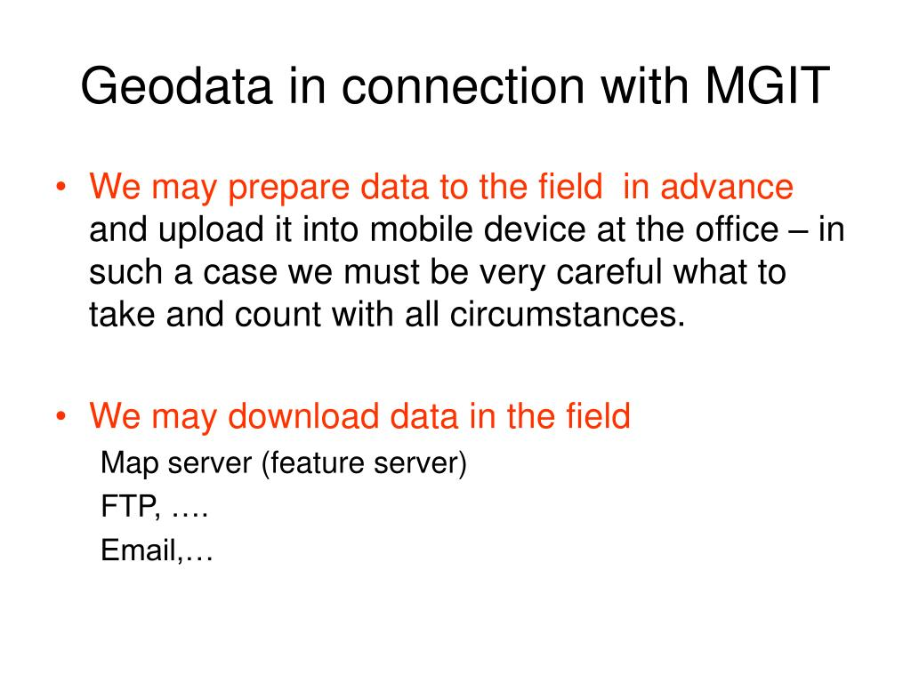 Geodata in connection with MGIT
