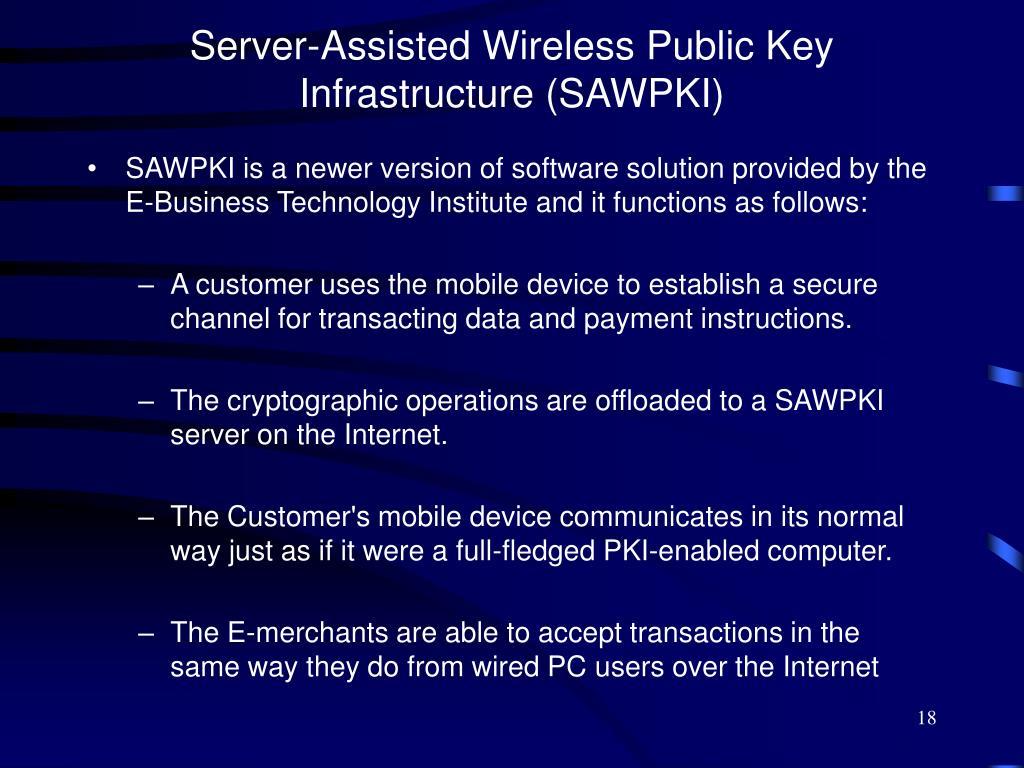 Server-Assisted Wireless Public Key Infrastructure (SAWPKI)