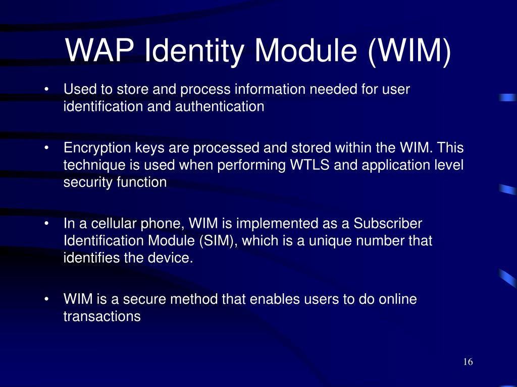 WAP Identity Module (WIM)