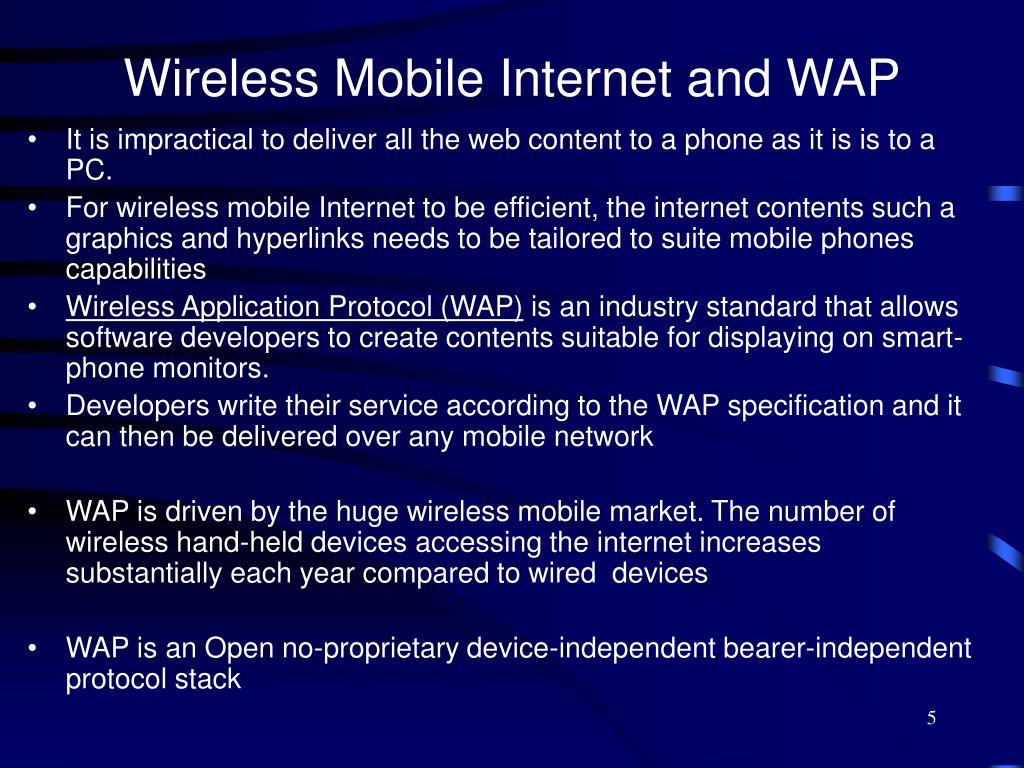 Wireless Mobile Internet and WAP