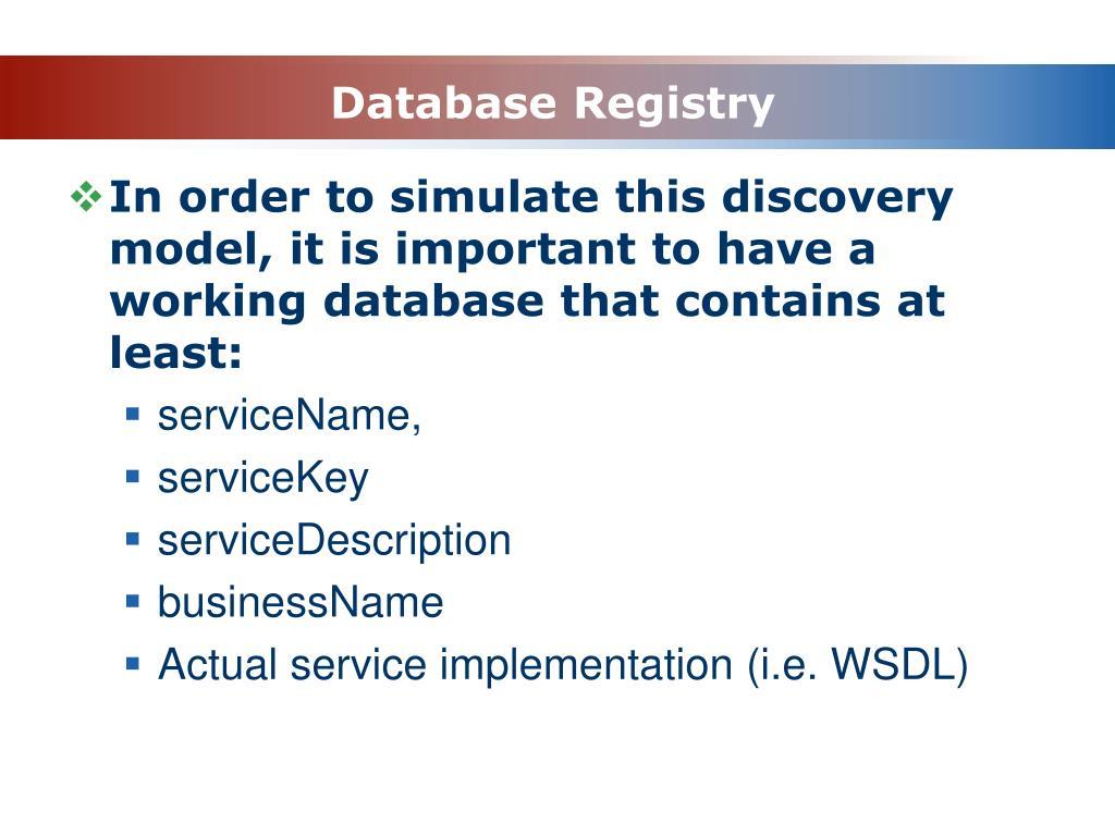 Database Registry