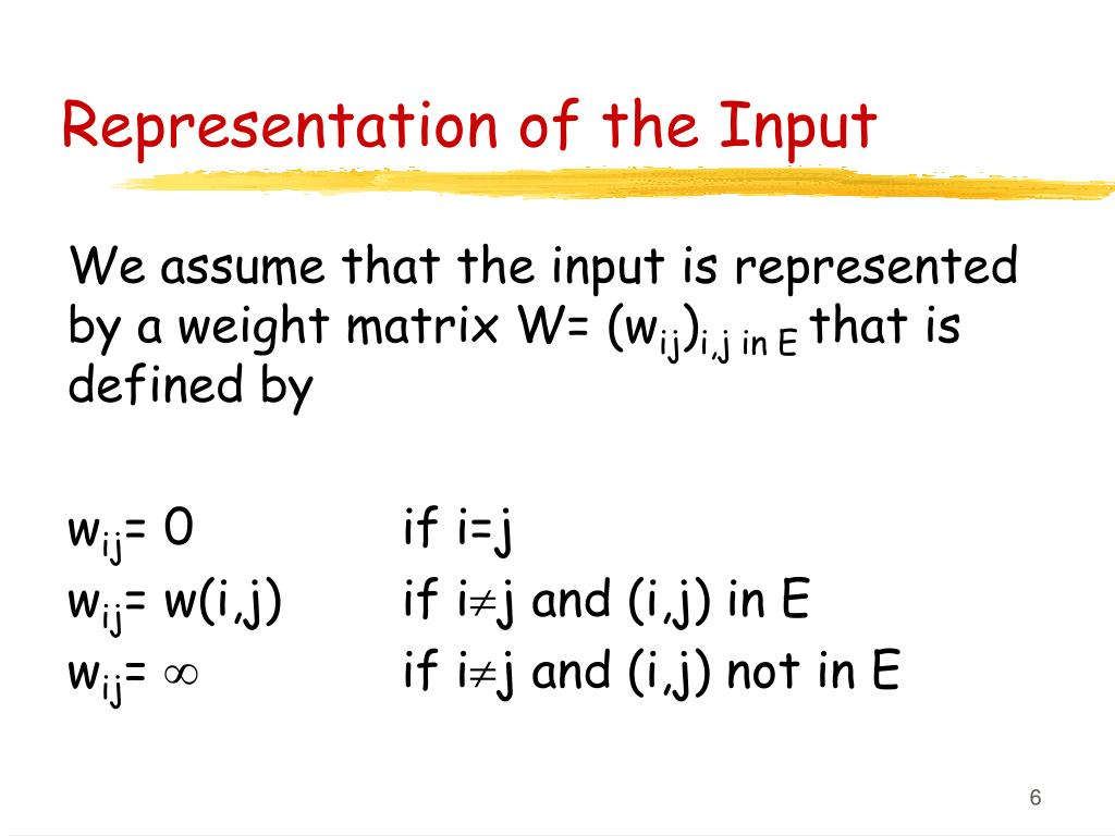 Representation of the Input