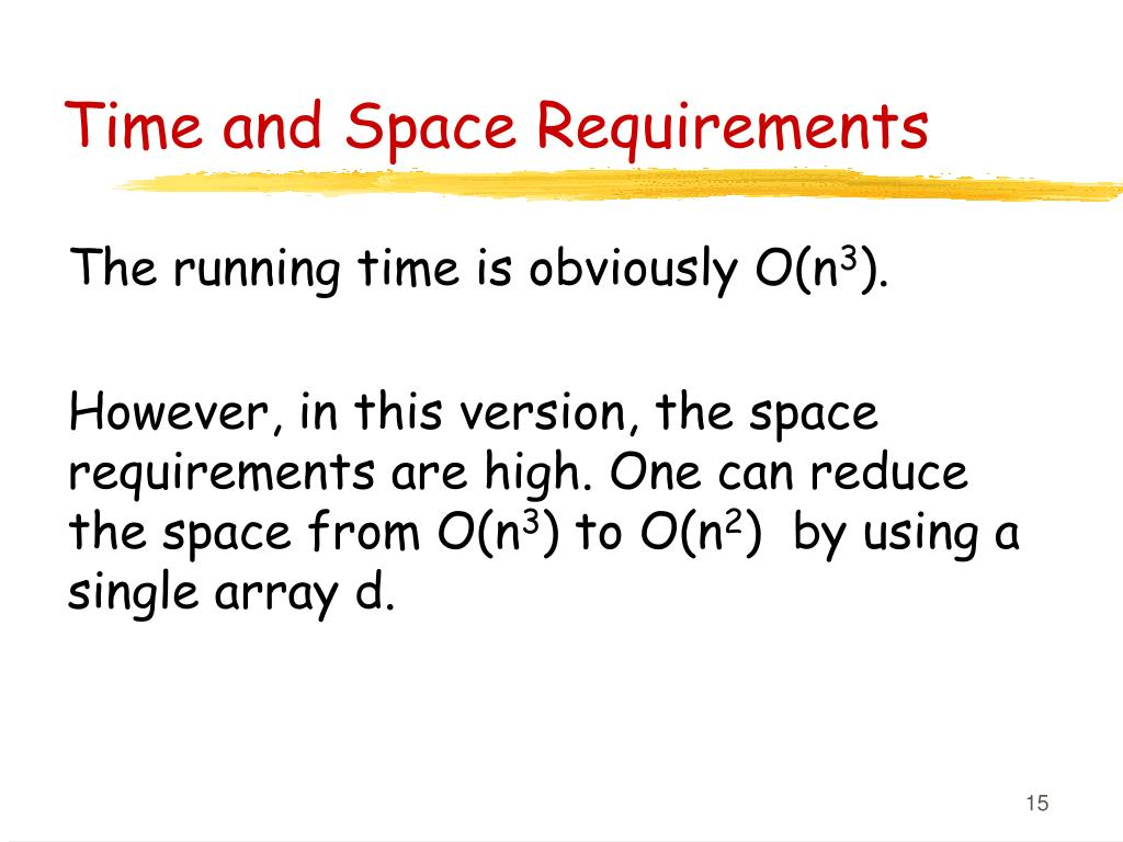 Time and Space Requirements
