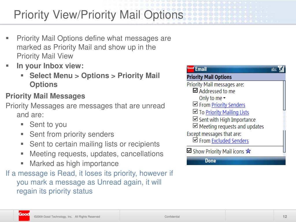 Priority View/Priority Mail Options