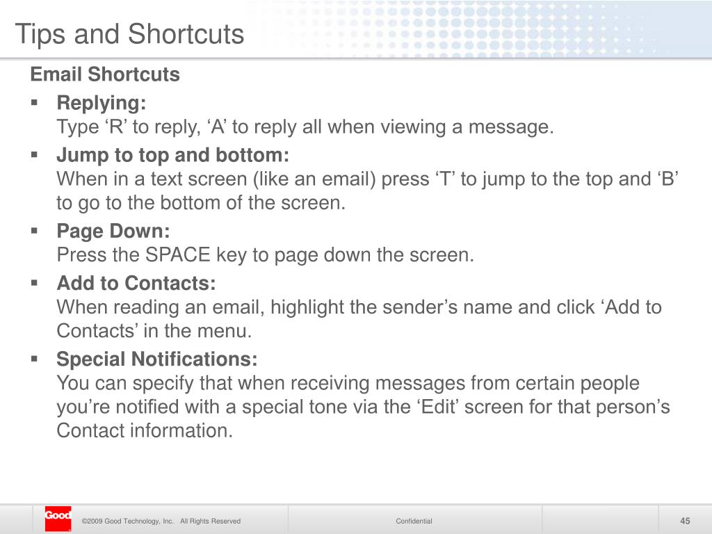 Tips and Shortcuts