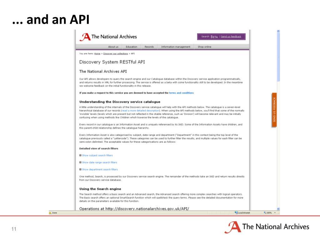 ... and an API