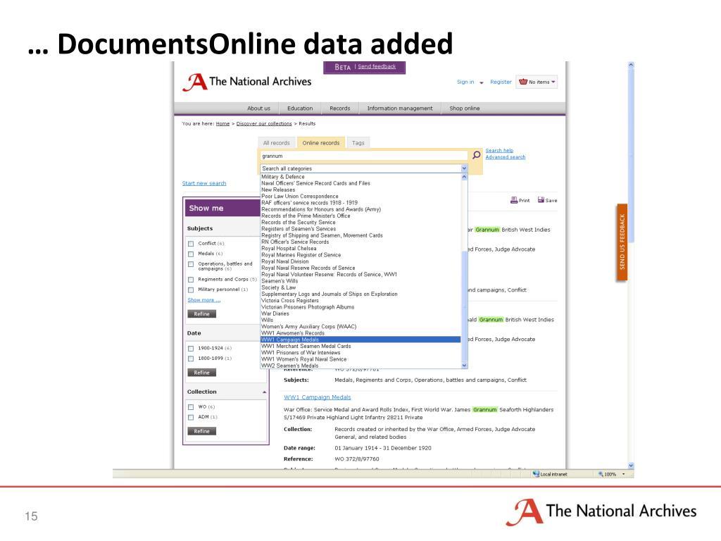 … DocumentsOnline data added