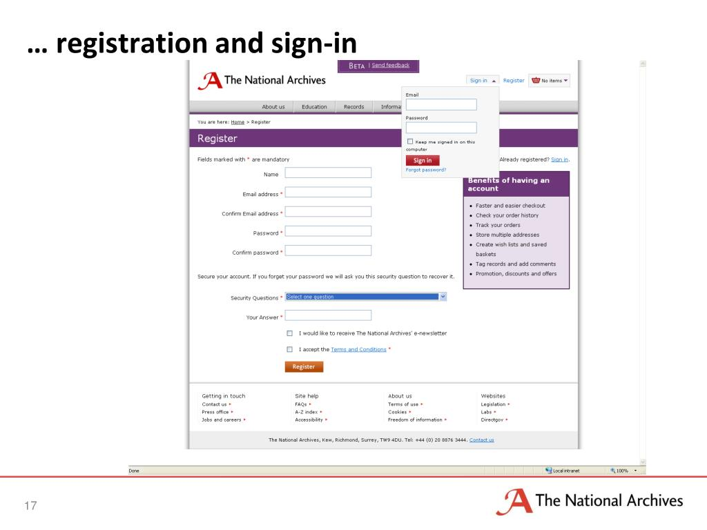 … registration and sign-in